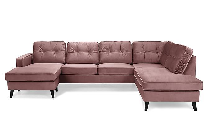RIVALTA U-soffa med Divan Vänster Sammet Rosa - Inomhus - Soffor - U-soffor