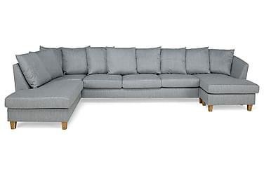 TITUS U-soffa Large med Divan Höger Kuvertkuddar Ljusgrå