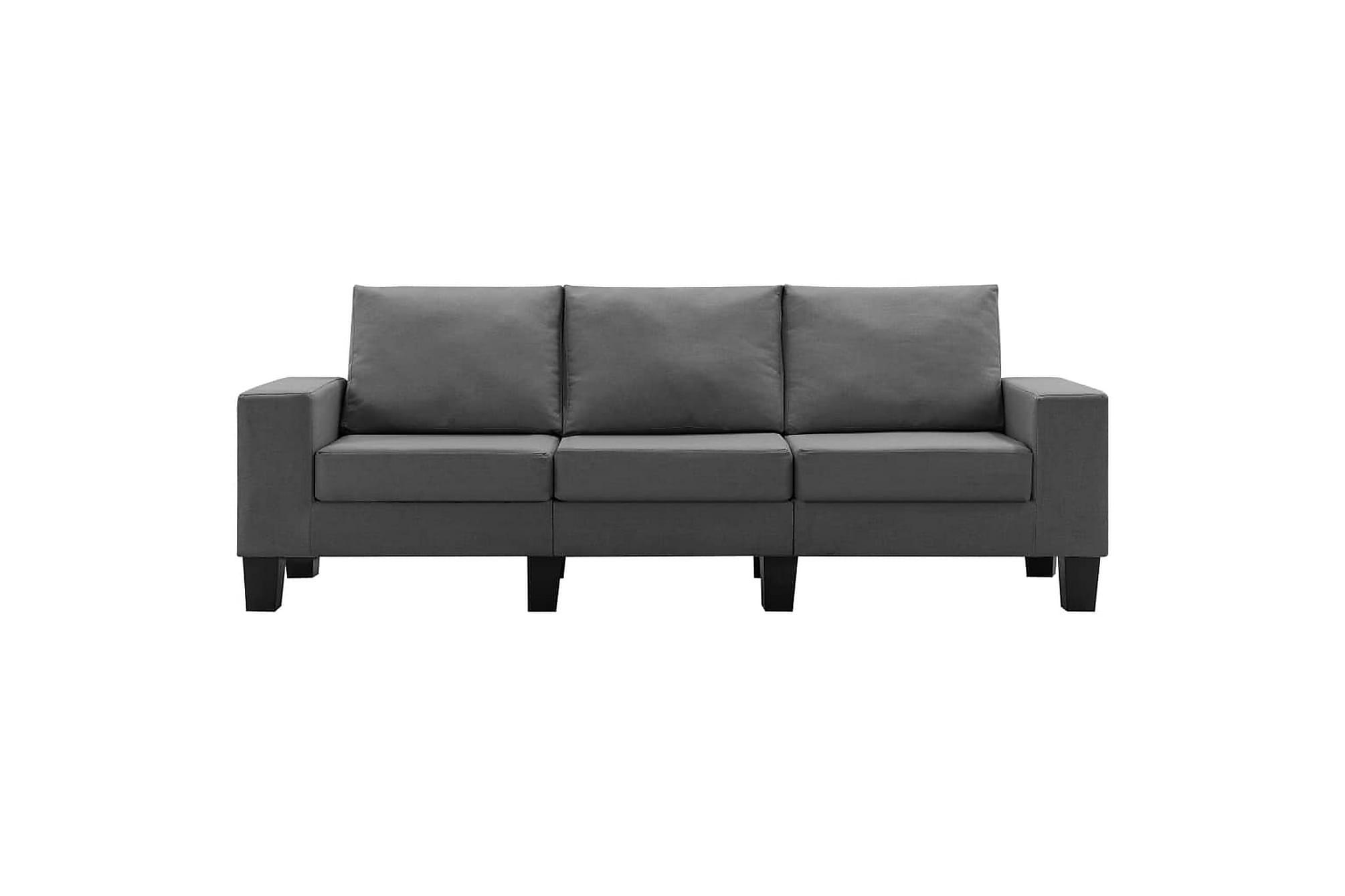 3-sitssoffa mörkgrå tyg, Soffor