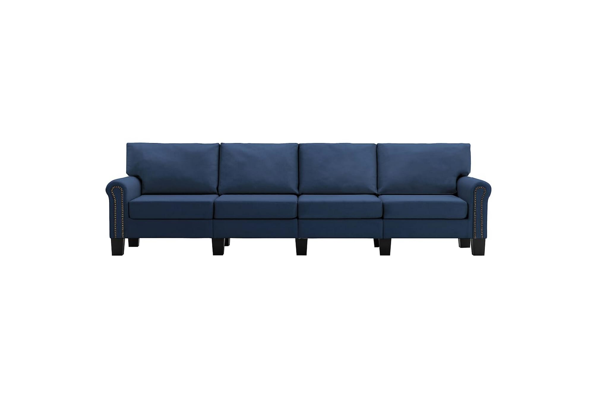 4-sitssoffa blå tyg