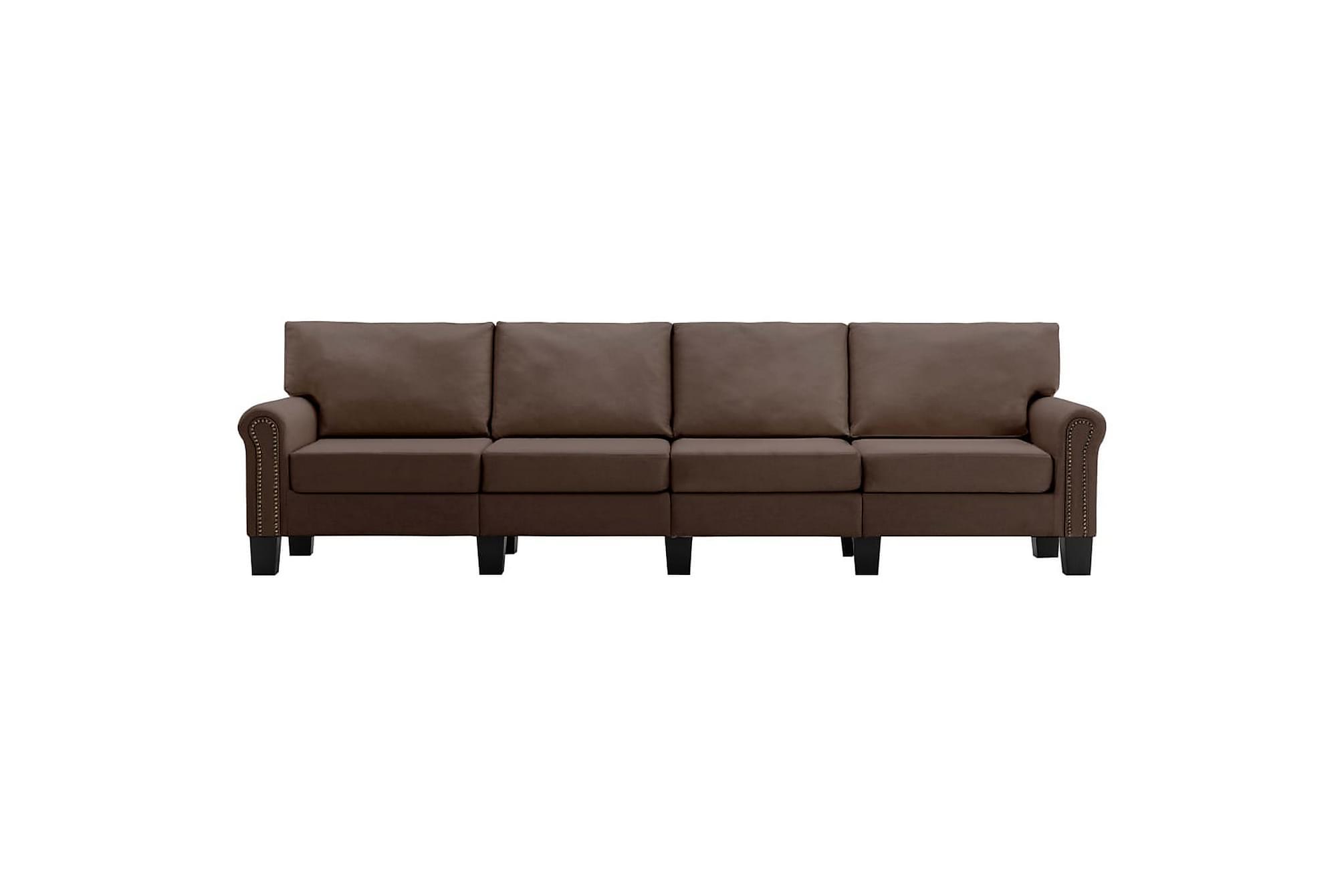 4-sitssoffa brun tyg