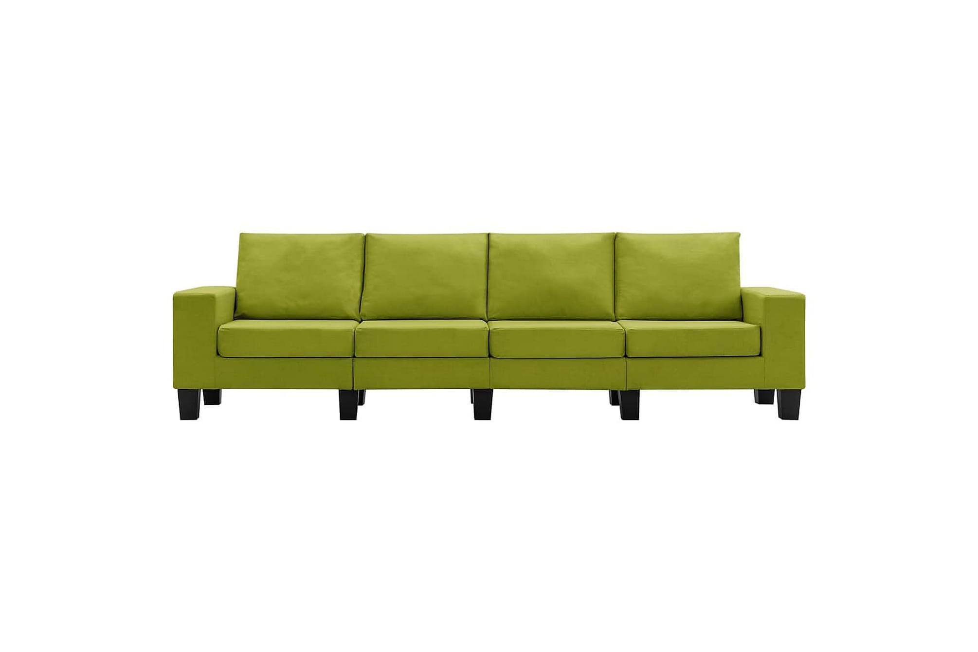 4-sitssoffa grön tyg
