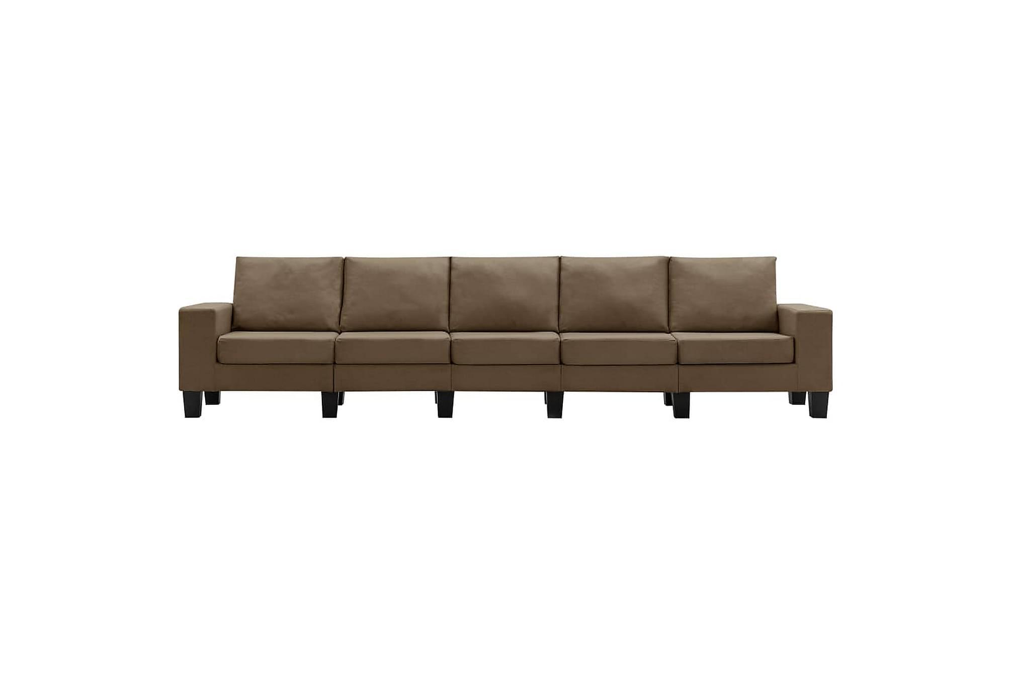 5-sitssoffa brun tyg