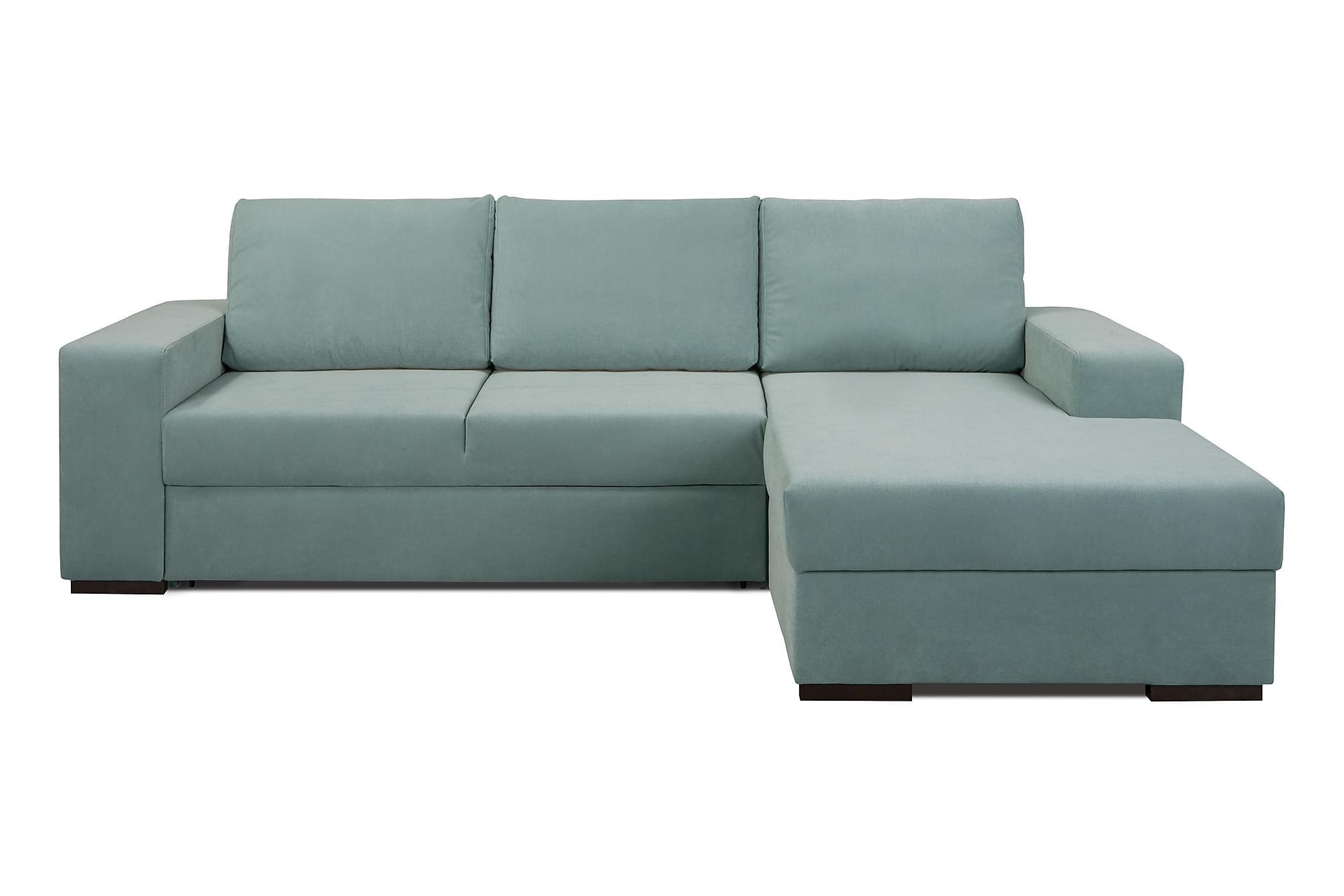 Arvilla soffa med schäslong höger grön