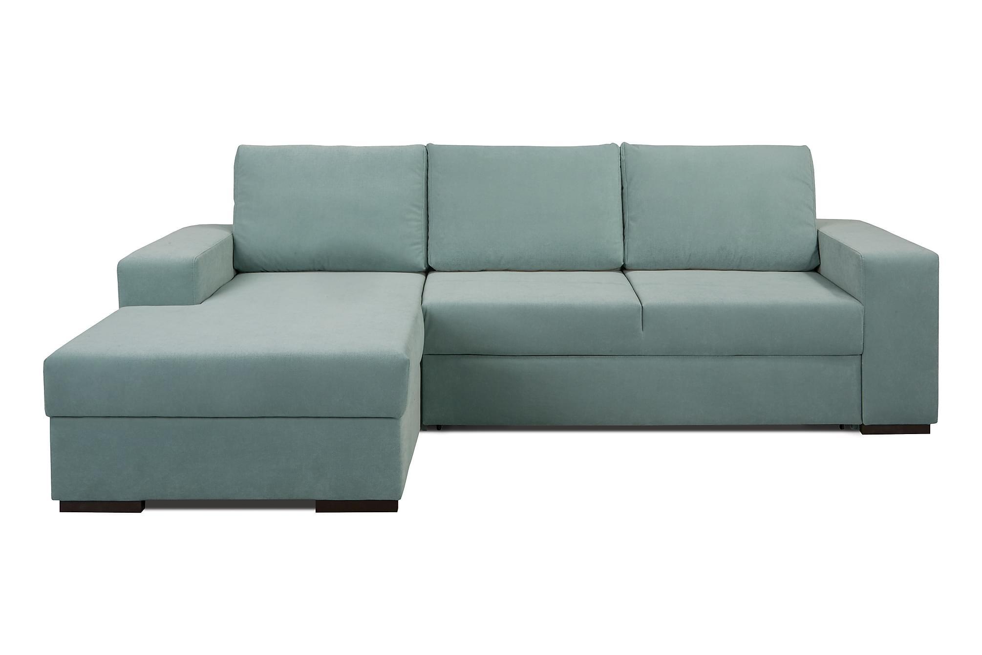 Arvilla soffa med schäslong vänster grön