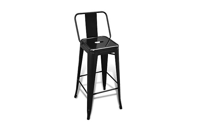 Barstolar 2 st svart stål - Svart - Möbler & Inredning - Stolar - Barstolar