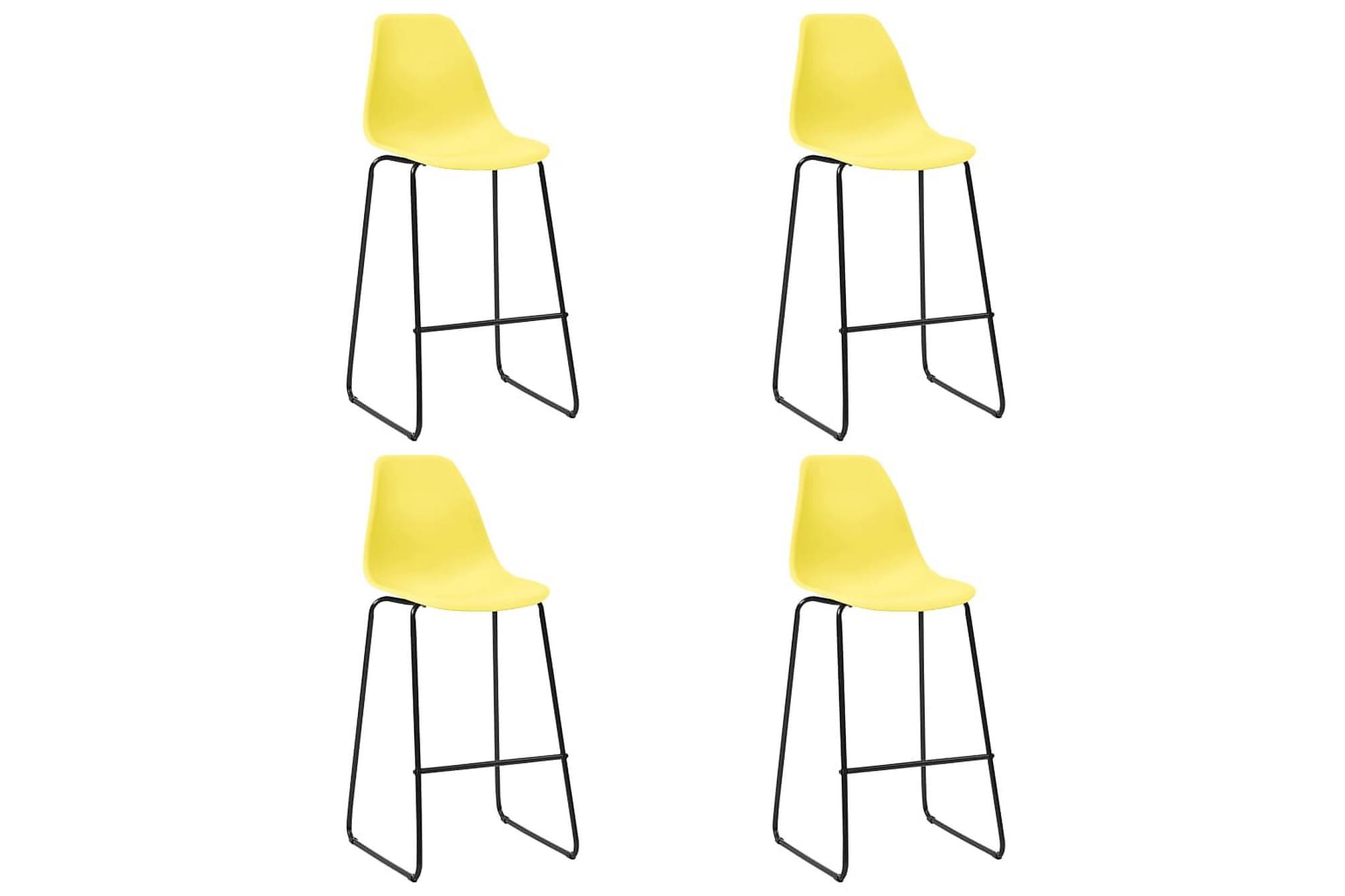 Barstolar 4 st gul plast