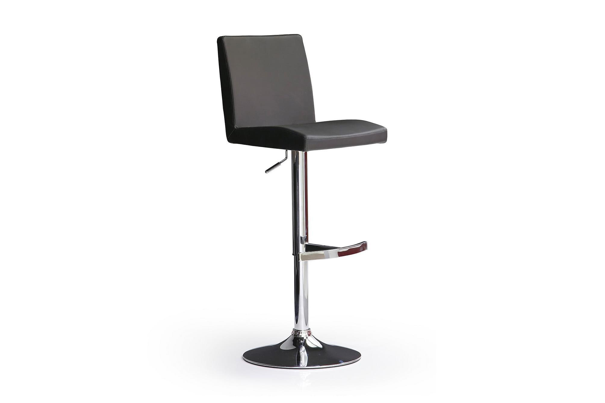 Soila barstol rund fot konstläder svart/krom