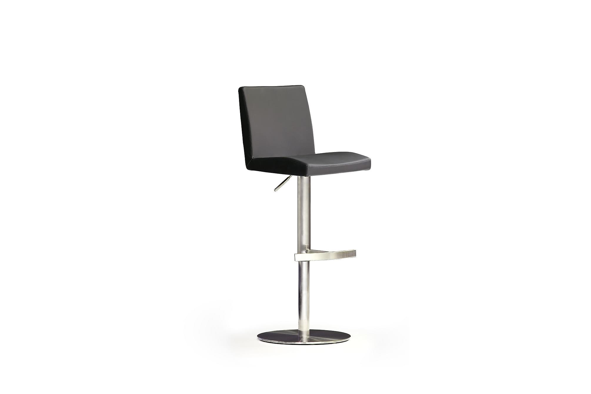Soila barstol rund fot konstläder svart/stål