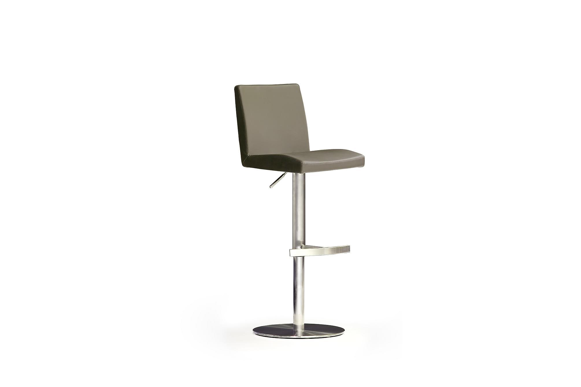 Soila barstol rund fot läder cappuccino/stål