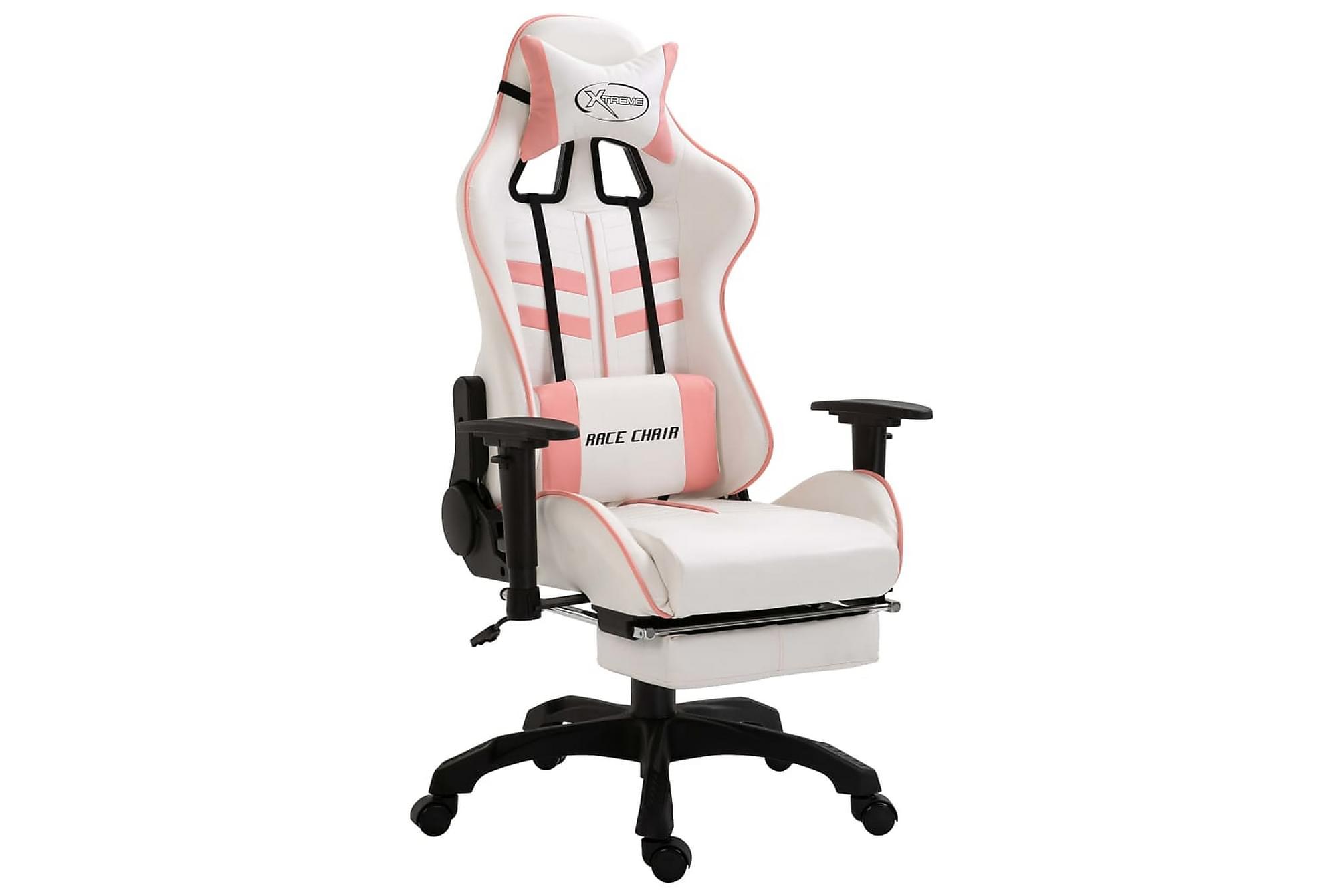 Gamingstol med fotstöd rosa PU