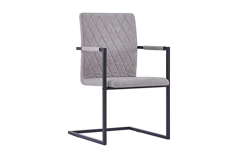 Fribärande matstolar 4 st ljusgrå konstläder - Grå - Möbler & Inredning - Stolar - Matstolar