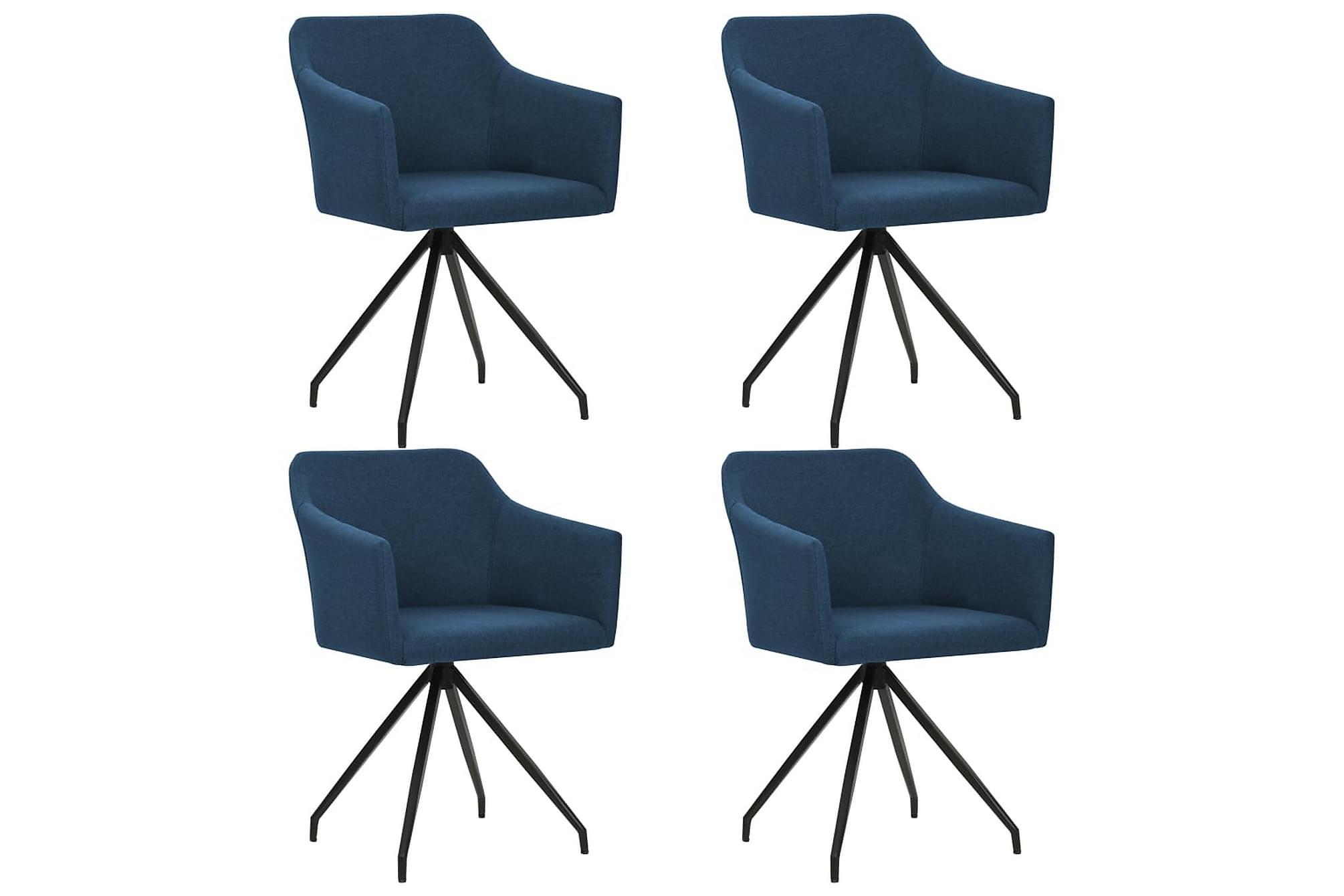 Matstol 4 st snurrbar tyg blå