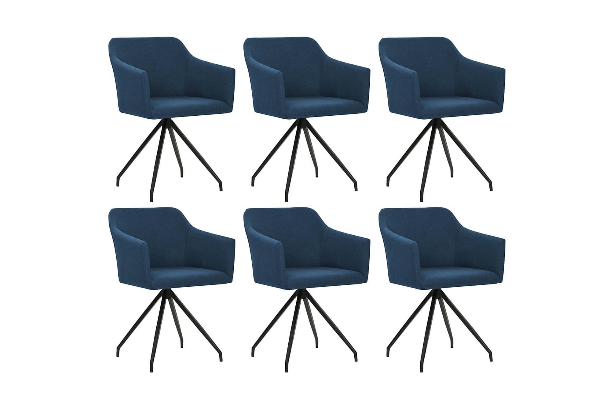 Matstol 6 st snurrbar tyg blå
