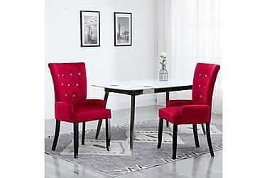Matstol med armstöd röd sammet