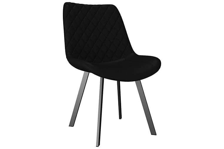 Matstolar 2 st svart konstläder - Svart - Möbler & Inredning - Stolar - Matstolar
