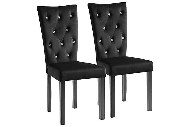 Matstolar 2 st svart sammet - Svart - Möbler & Inredning - Stolar - Matstolar