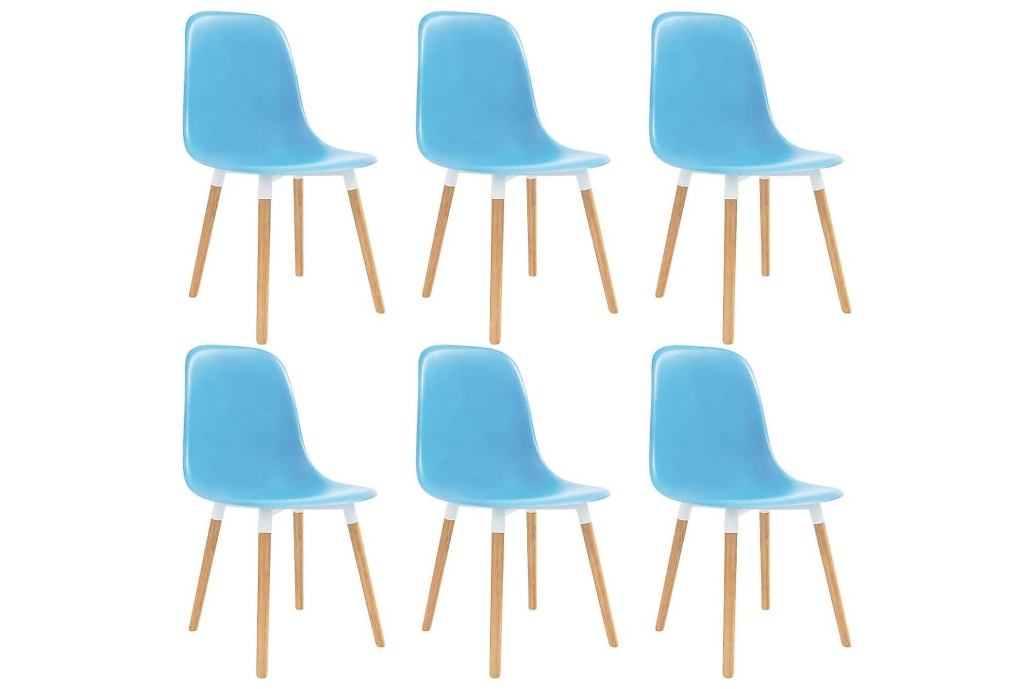 Matstolar 6 st blå plast