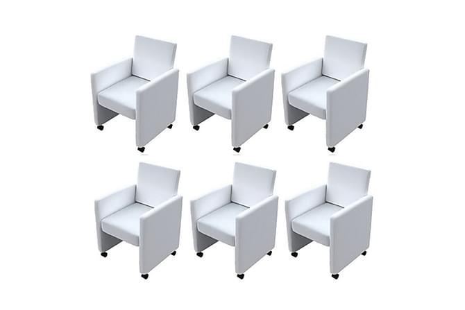 Matstolar 6 st vit konstläder - Vit - Möbler & Inredning - Stolar - Matstolar