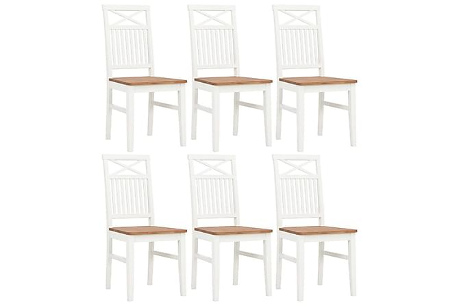 Matstolar 6 st vit massivt ekträ - Vit - Möbler & Inredning - Stolar - Matstolar