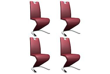 Matstolar med sicksack-form 4 st vinröd konstläder