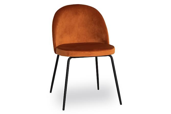 SANDRO Matstol Sammet Orange/Svart - Orange/Svart - Möbler & Inredning - Stolar - Matstolar
