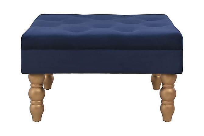 Pall marinblå 60x60x36 cm sammet - Marinblå - Möbler & Inredning - Stolar - Pallar