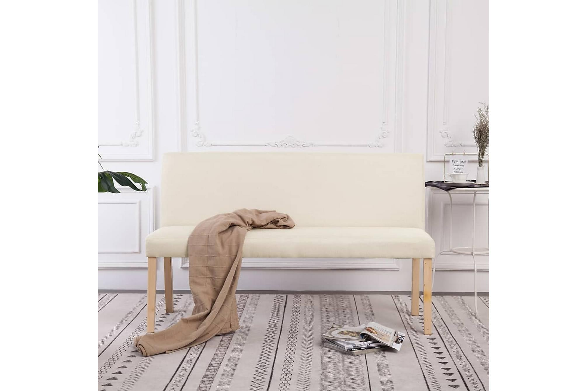 Bänk 139,5 cm polyester gräddvit