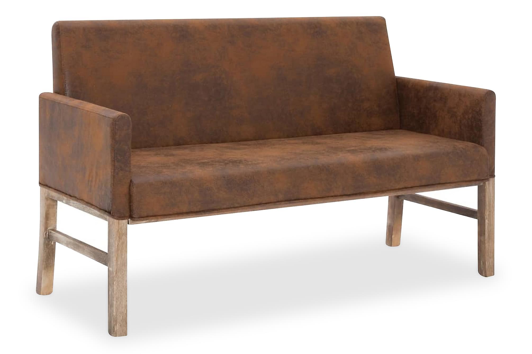 Bänk med armstöd 140 cm brun konstmocka
