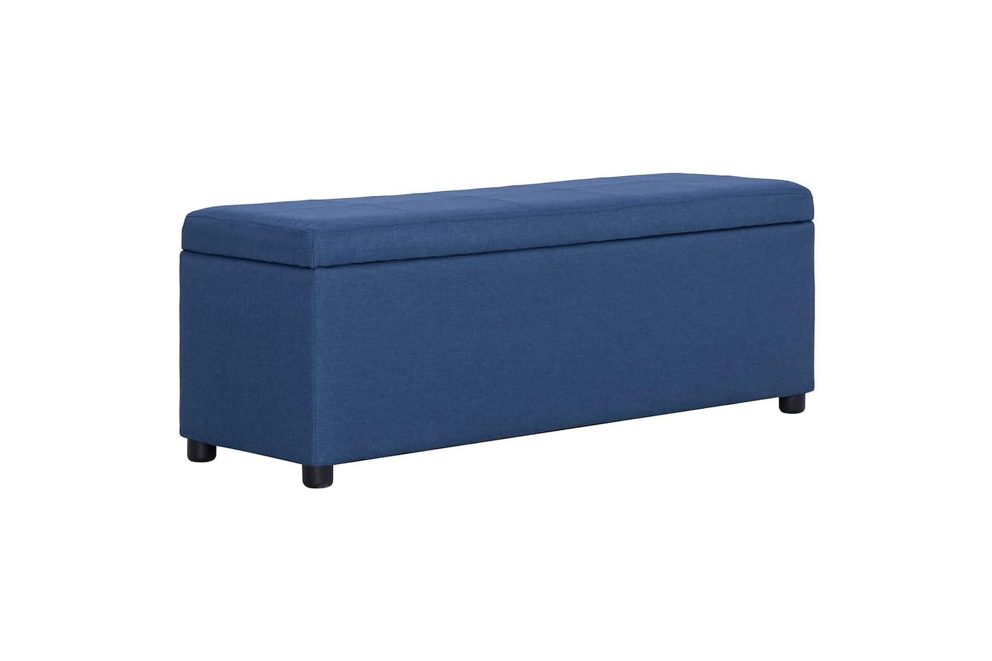 Bänk med förvaringsutrymme 116 cm blå polyester
