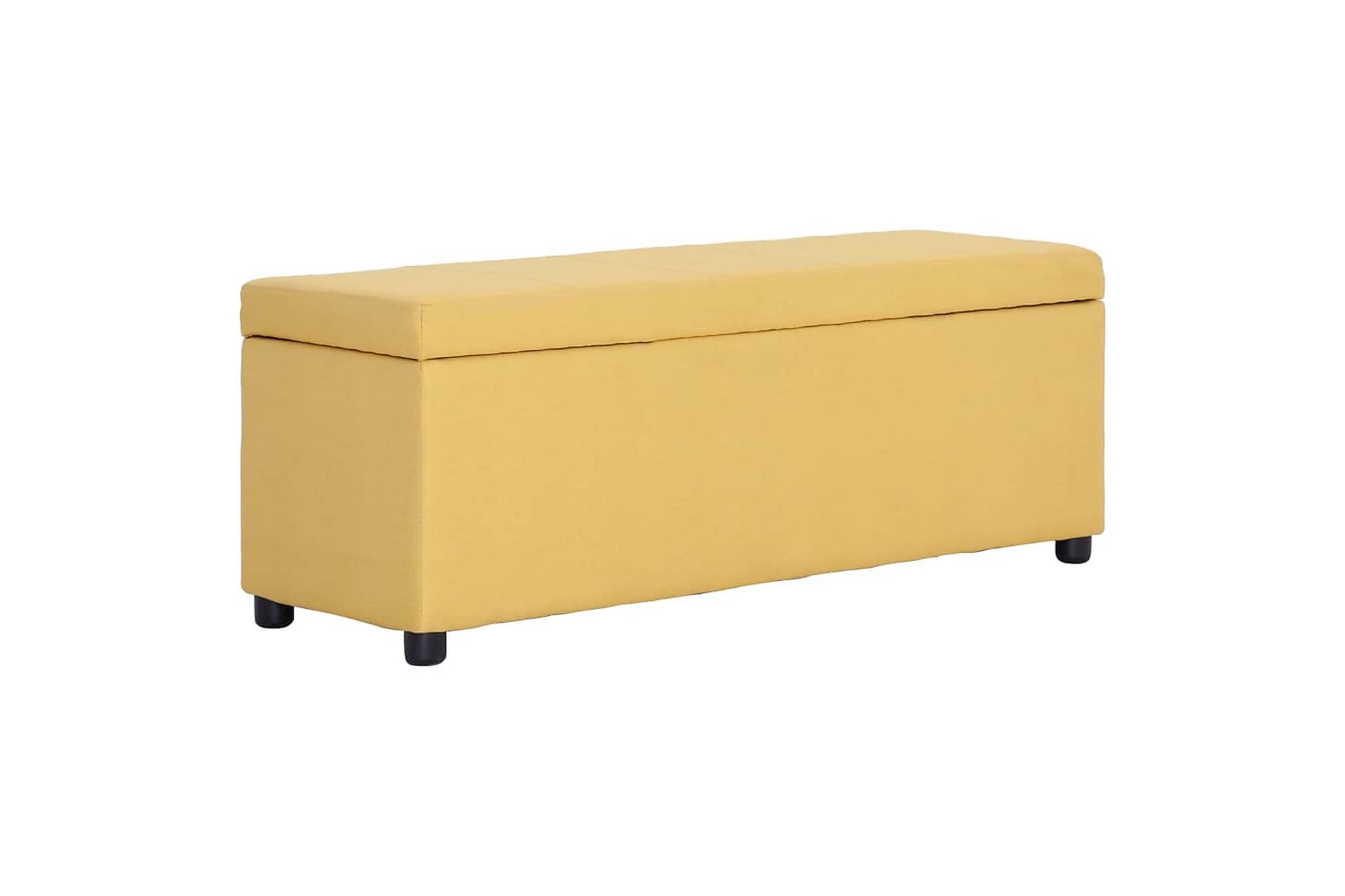 Bänk med förvaringsutrymme 116 cm gul polyester