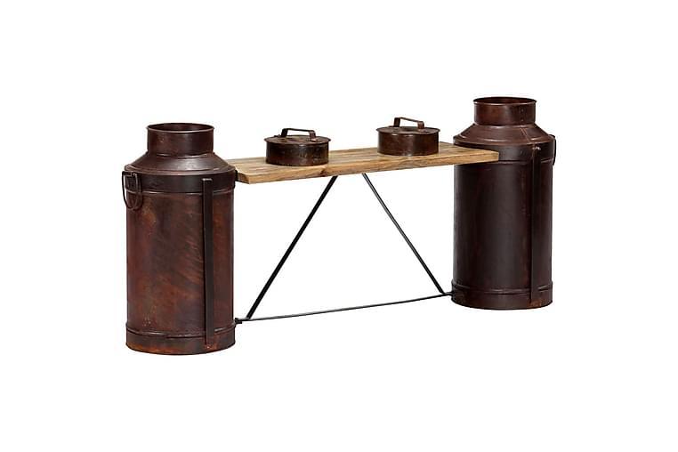 Bänk mjölkflaskor 150x33x64 cm massivt mangoträ - Flerfärgad - Möbler & Inredning - Stolar - Sittbänk