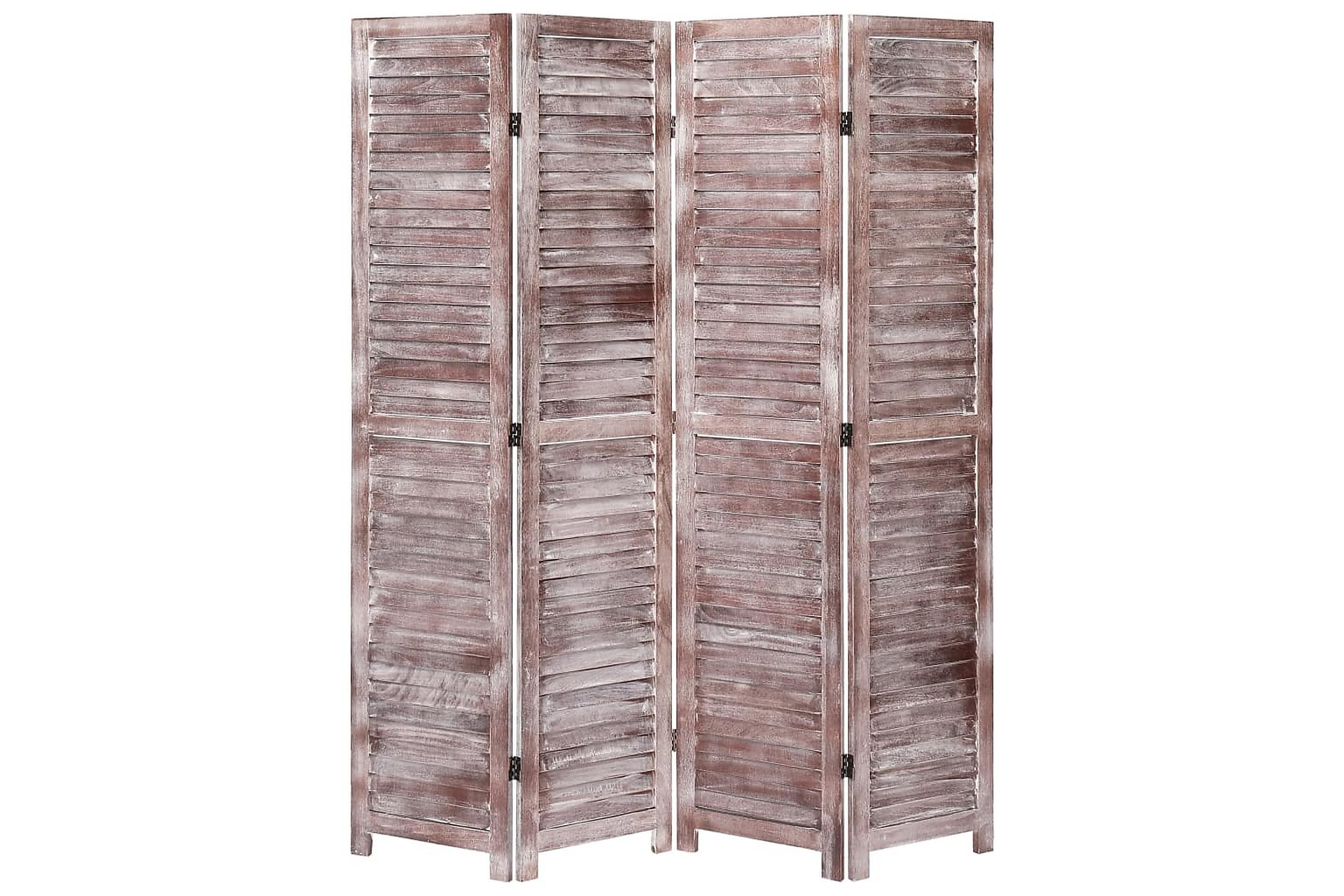 Rumsavdelare 4 paneler brun 140×165 cm trä