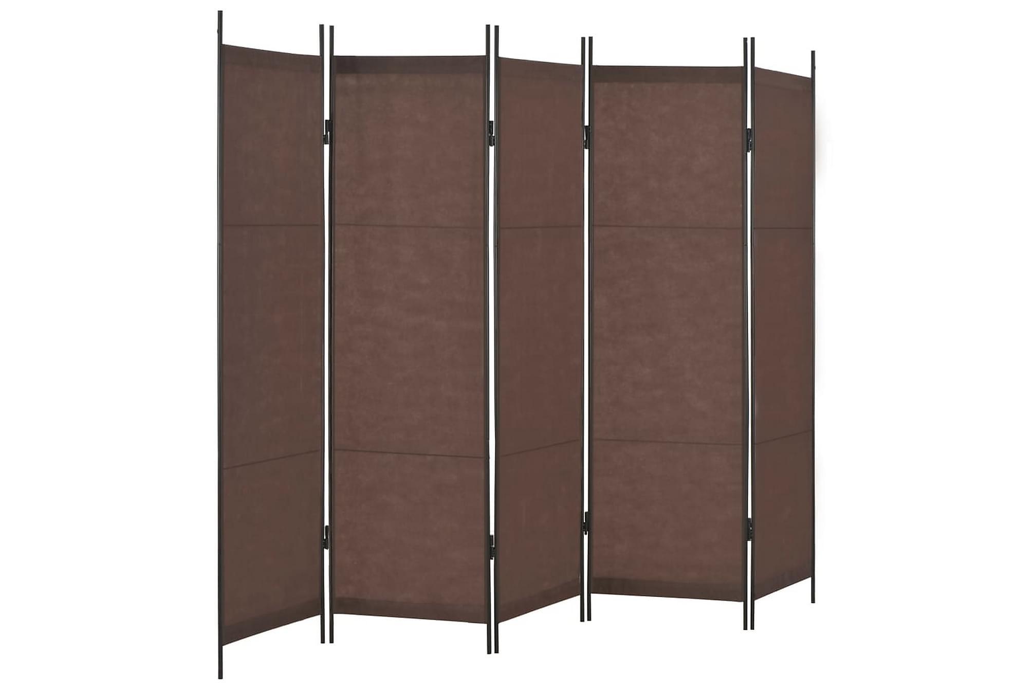 Rumsavdelare 5 paneler brun 250×180 cm