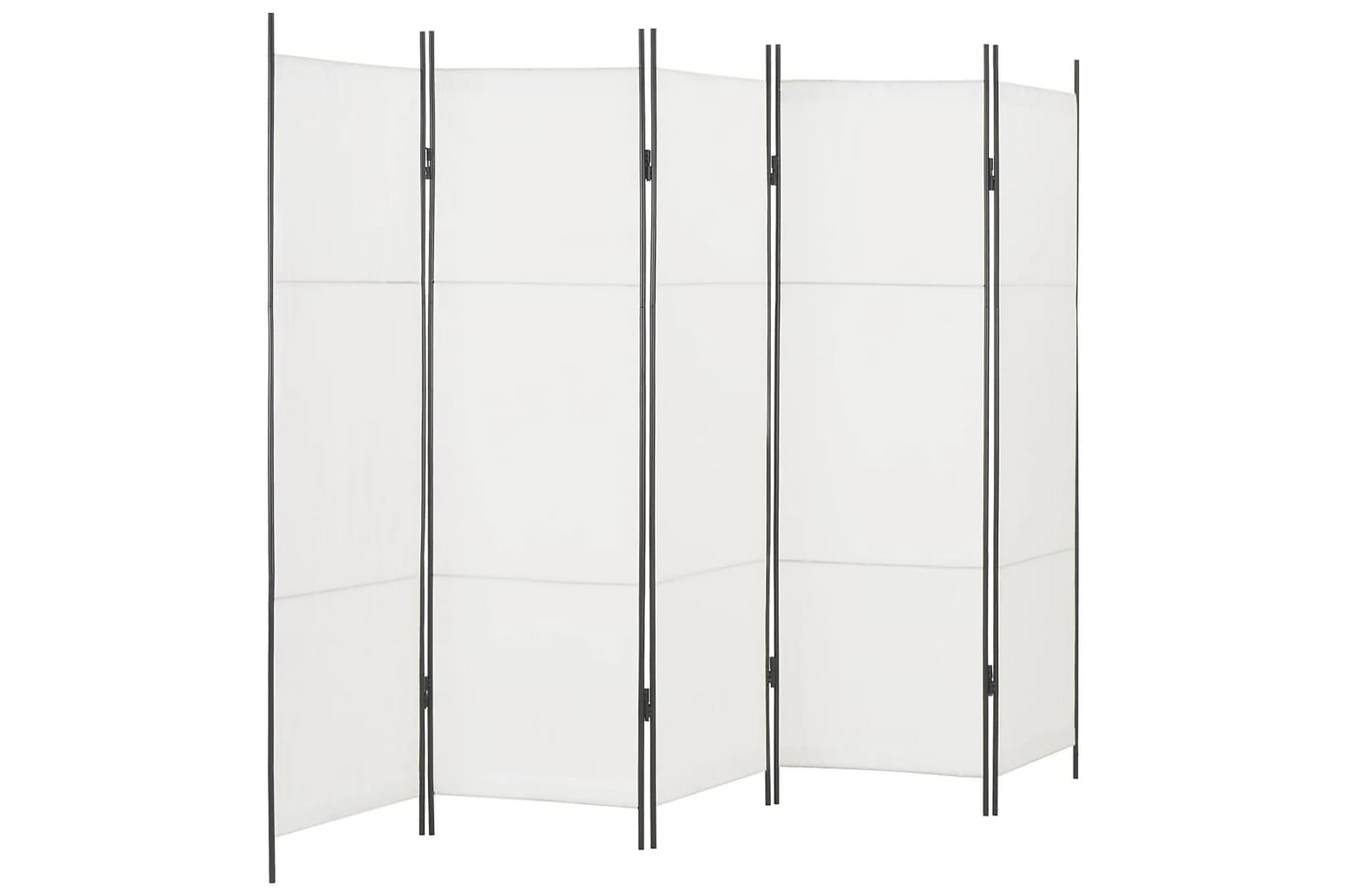 Rumsavdelare 5 paneler vit 250×180 cm