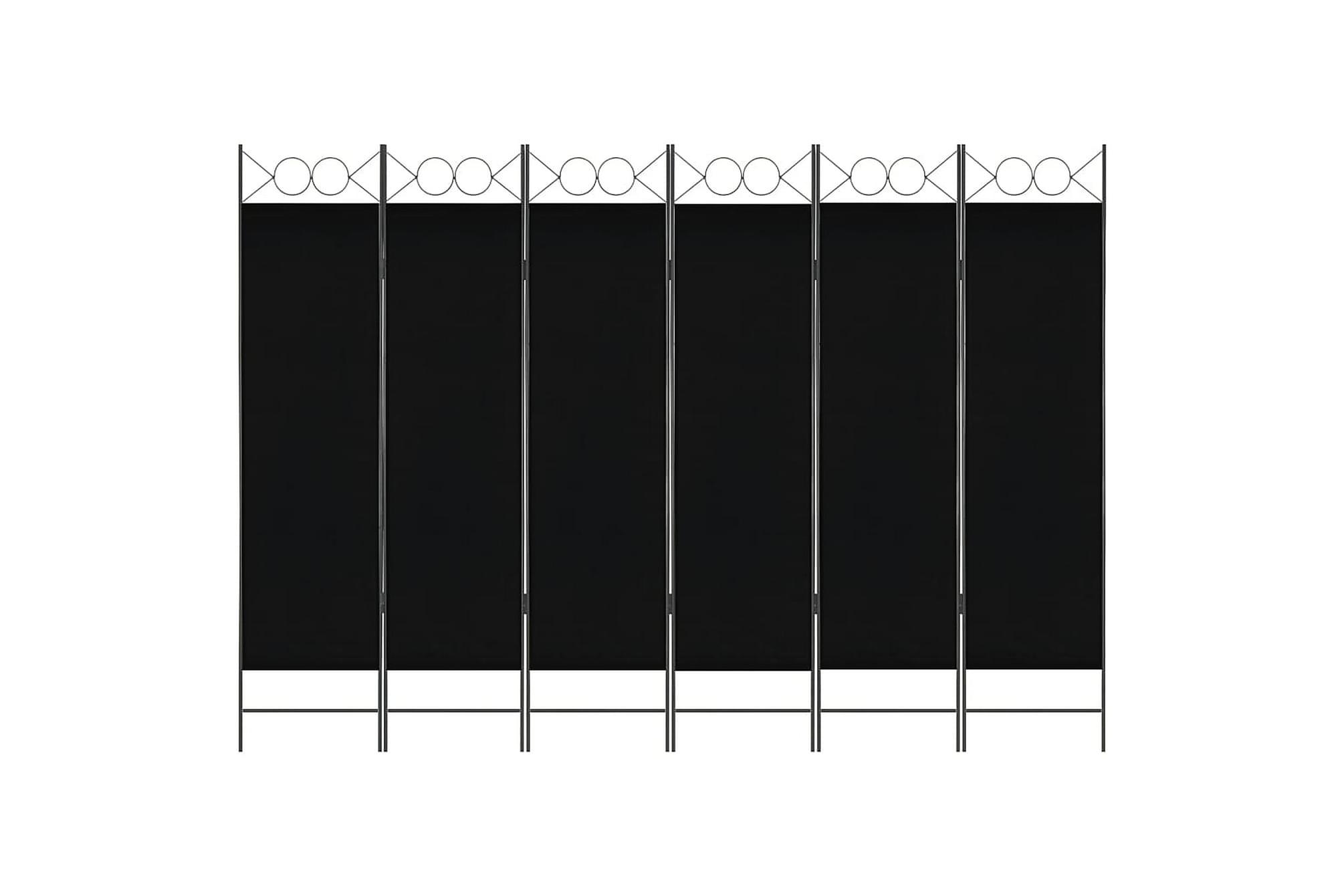 Rumsavdelare 6 paneler svart 240×180 cm
