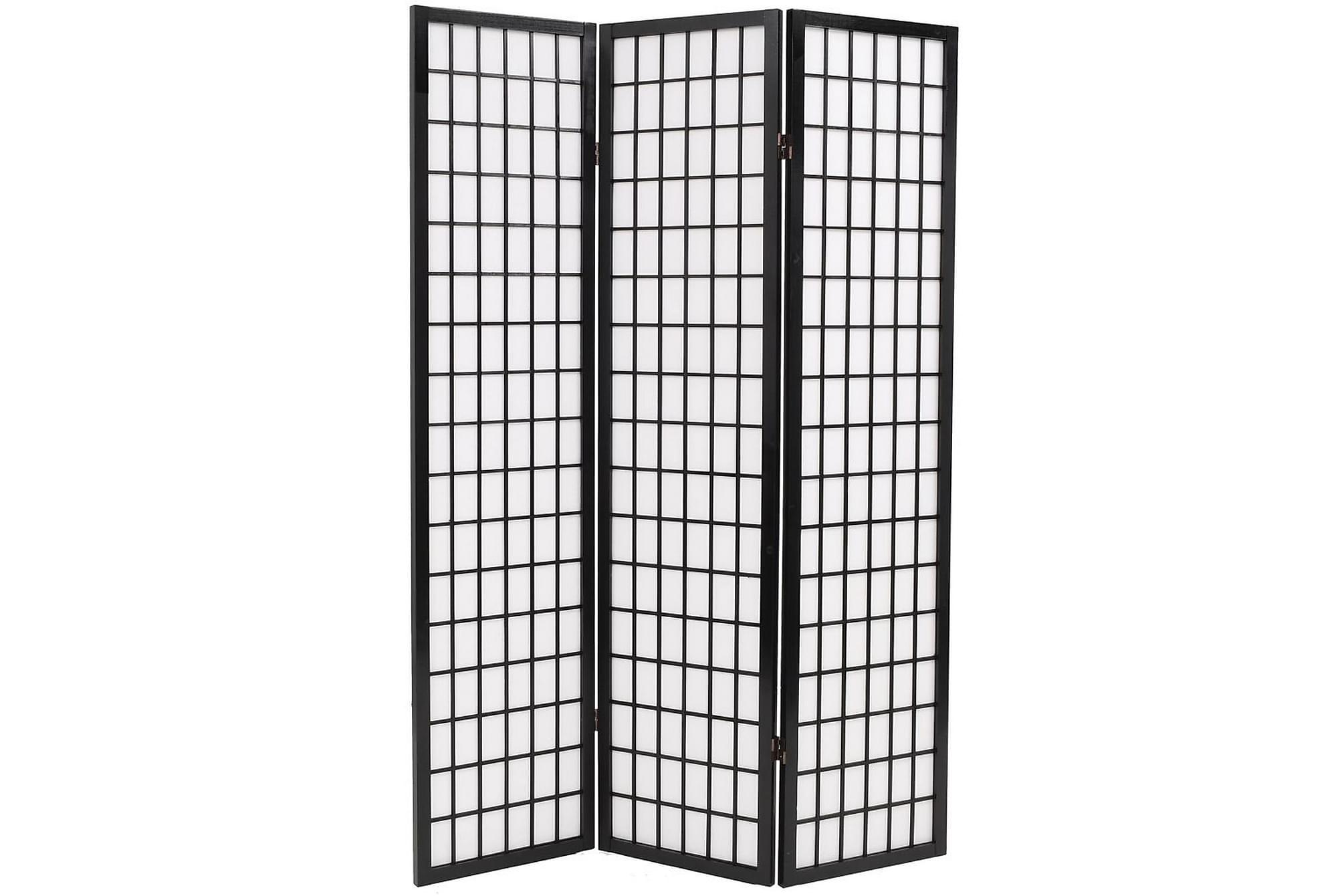 Rumsavdelare med 3 paneler japansk stil 120×170 cm svart