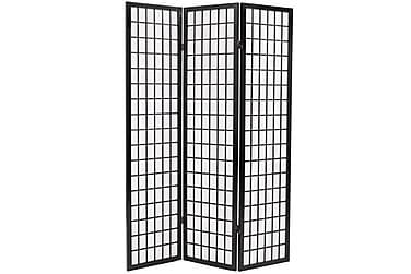 Rumsavdelare med 3 paneler japansk stil 120x170 cm svart