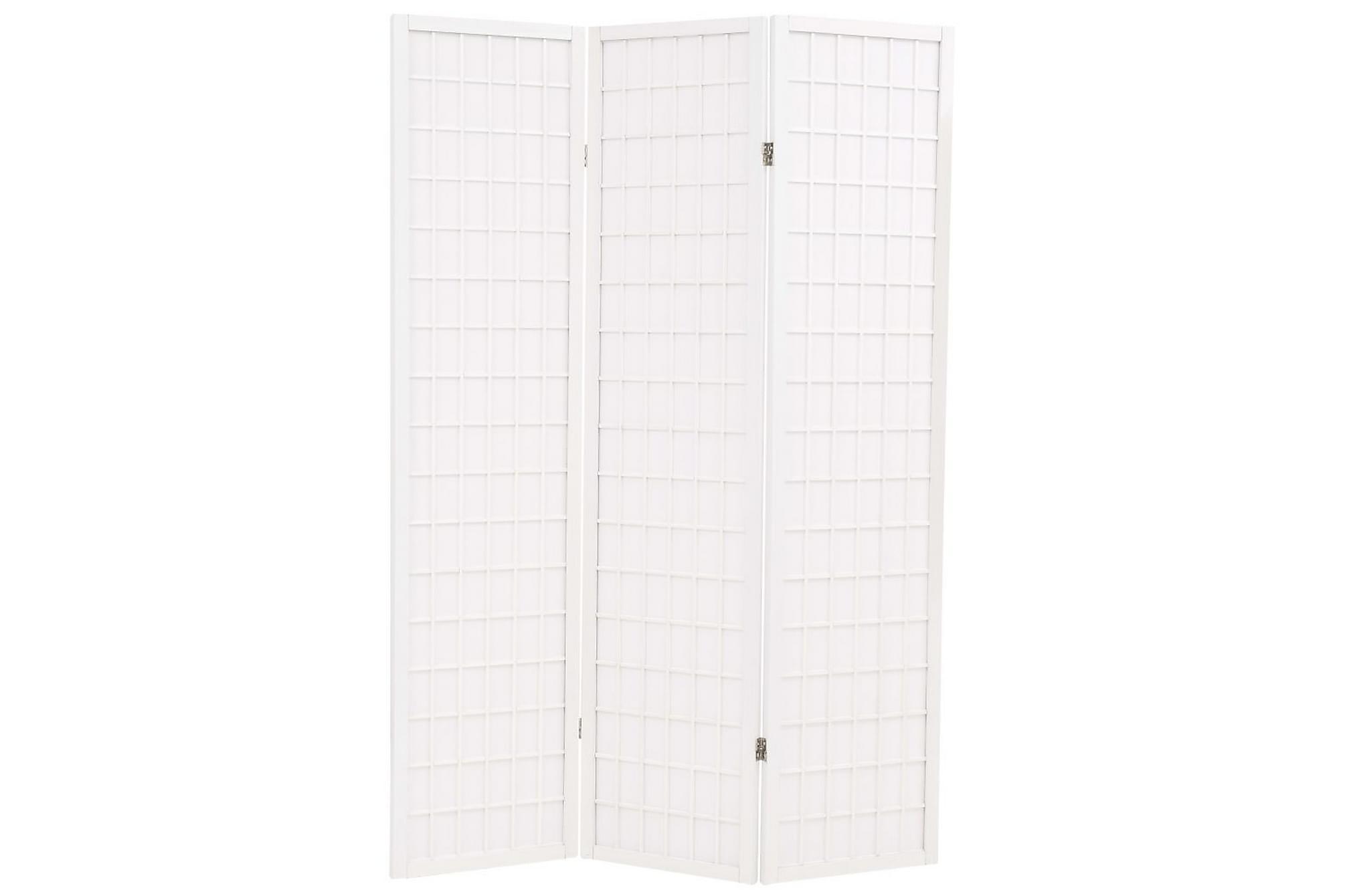 Rumsavdelare med 3 paneler japansk stil 120×170 cm vit