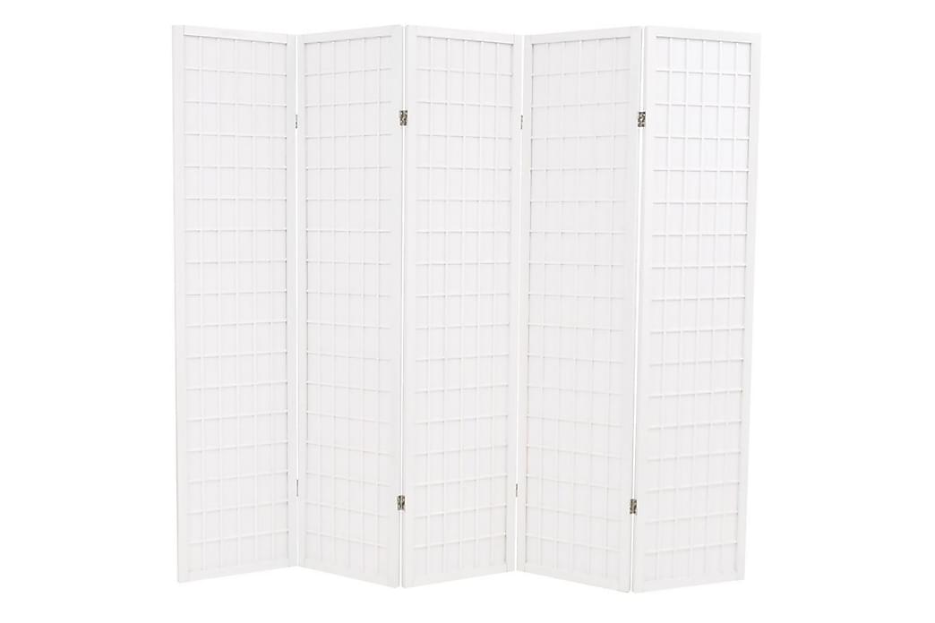 Rumsavdelare med 5 paneler japansk stil 200x170 cm vit - Vit - Möbler & Inredning - Inredning - Rumsavdelare