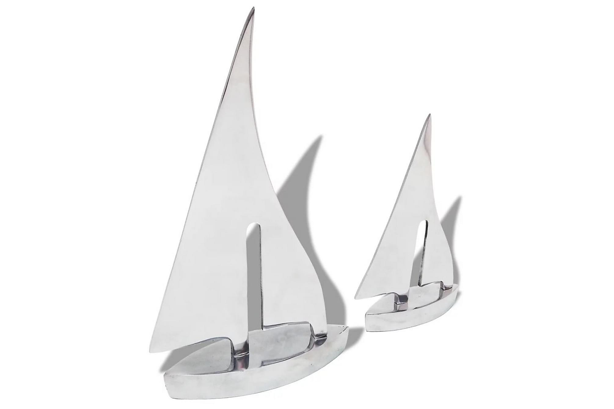 Segelbåtsdekoration 2 delar aluminium silver