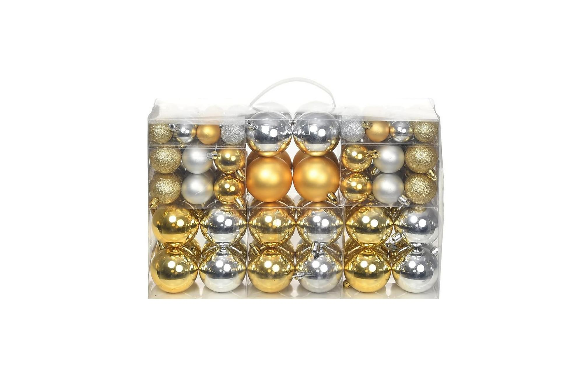 Julgranskulor 100 delar set 6 cm silver/guld