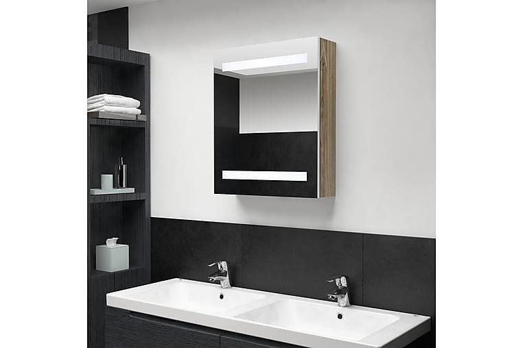 Badrumsspegel LED vit och ek 50x14x60 cm - Brun - Möbler & Inredning - Inredning - Speglar