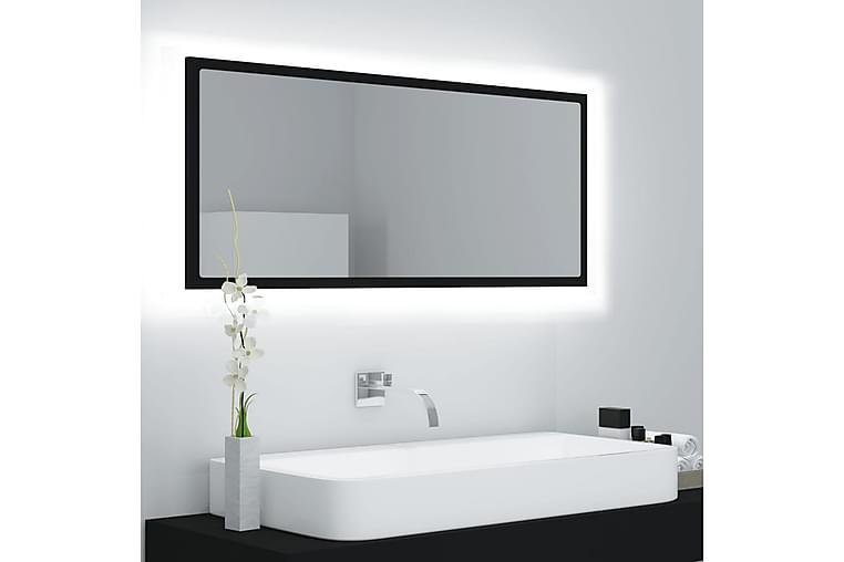 Badrumsspegel med LED svart 100x8,5x37 cm spånskiva - Svart - Möbler & Inredning - Inredning - Speglar