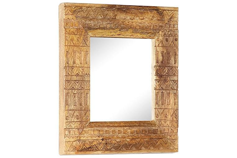 Handsnidad spegel 50x50x11 cm massivt mangoträ - Brun - Möbler & Inredning - Inredning - Speglar
