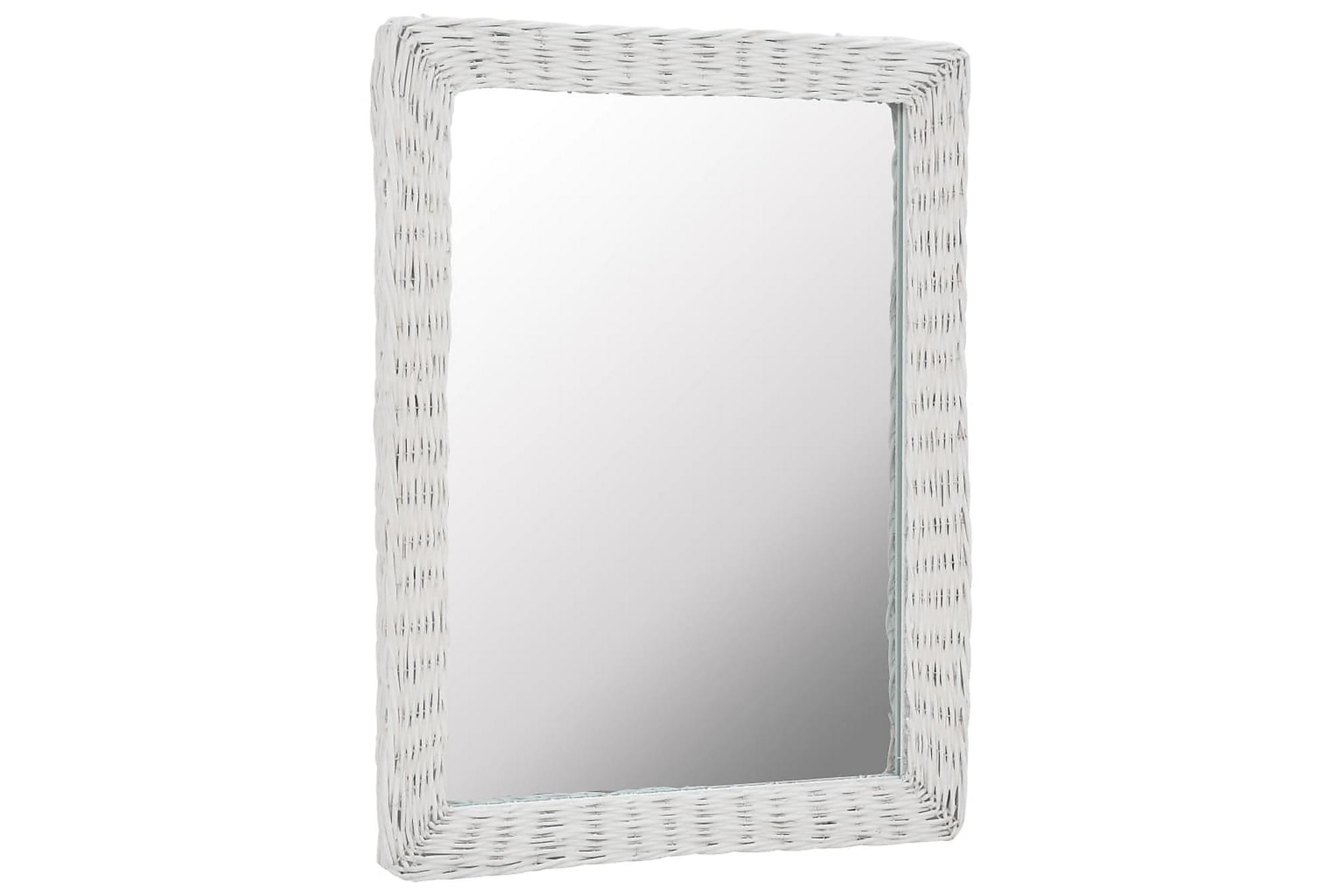 Spegel i korgmaterial 60x80 cm vit