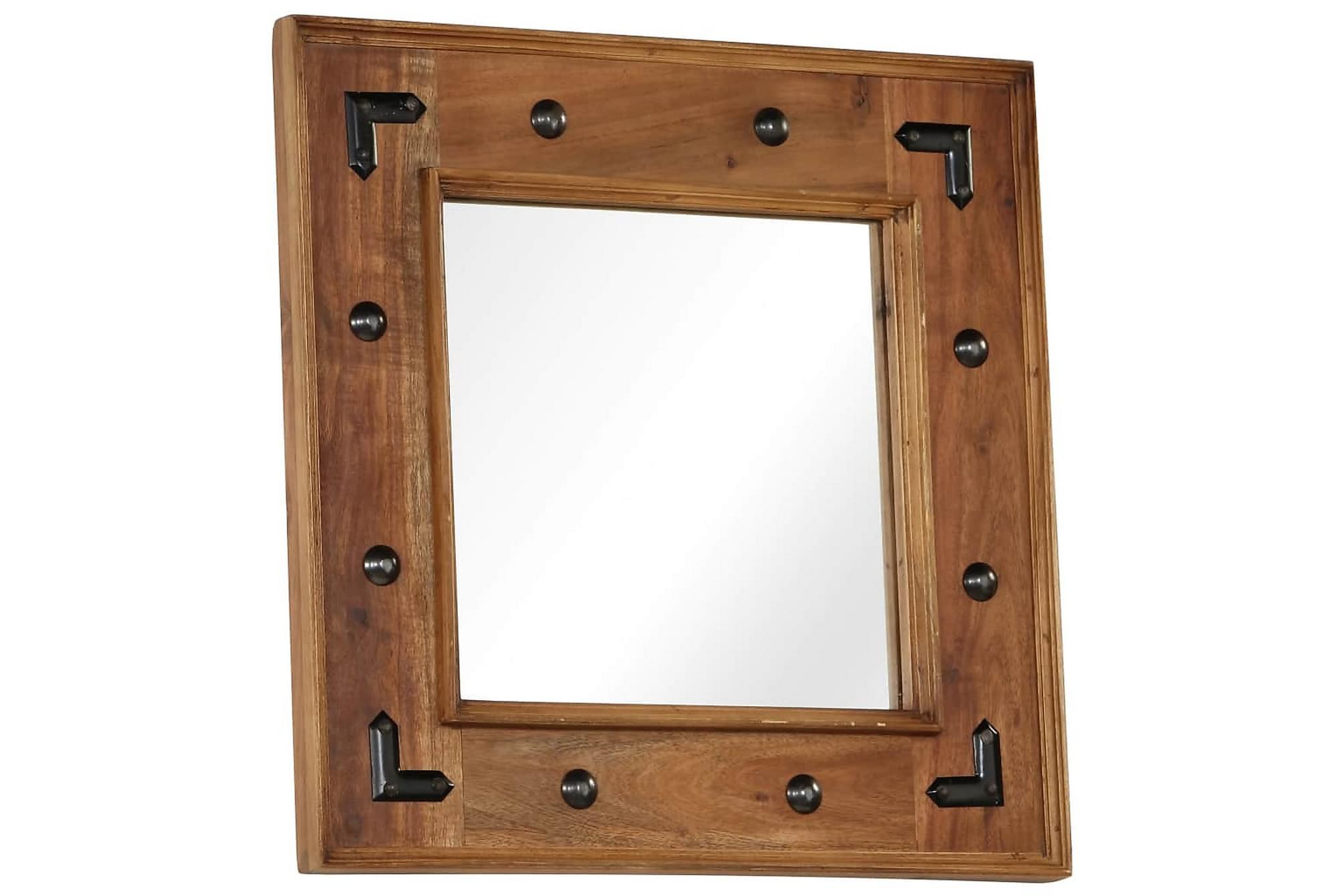 Spegel massivt akaciaträ 50x50 cm