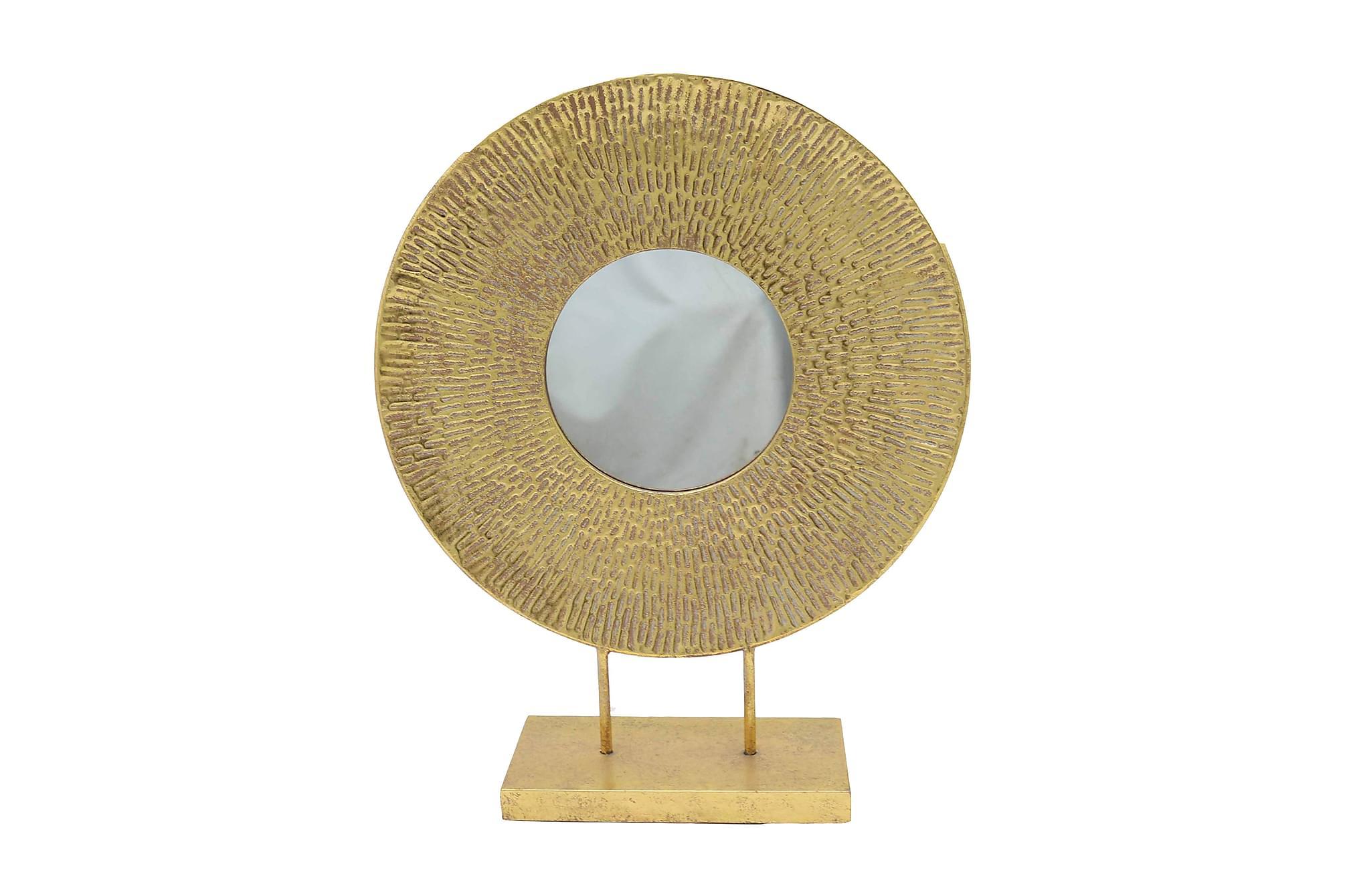 Spegel metallram på fot guld Ø50 cm guld