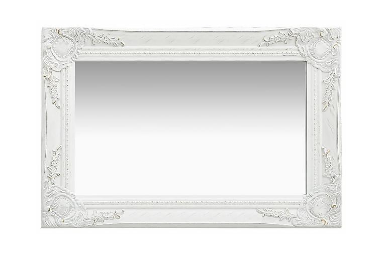 Väggspegel barockstil 60x40 cm vit - Vit - Möbler & Inredning - Inredning - Speglar