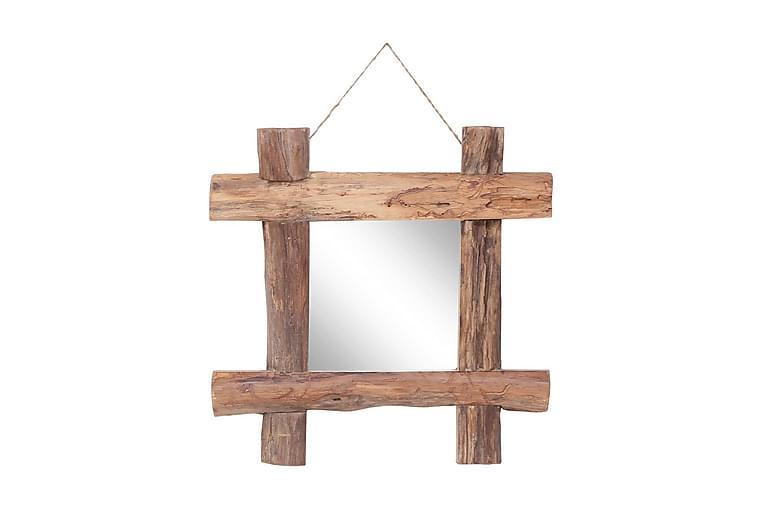Väggspegel naturlig 50x50 cm massivt återvunnet trä - Brun - Inredning & dekor - Speglar